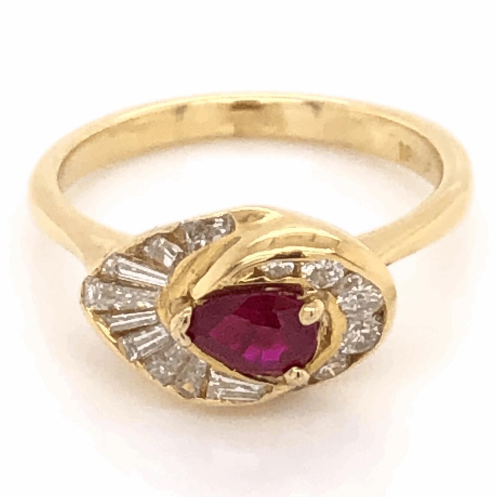 18K Yellow Gold .48ct Pear Shape Ruby & .65tcw Diamond Ring, c1960's, s6.5