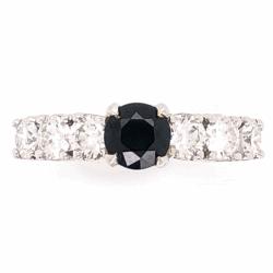 Closeup photo of Platinum .93ct Round Sapphire & 1.05tcw diamond Ring
