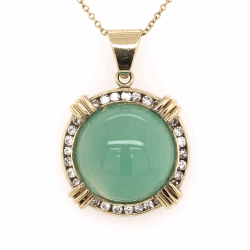 "Closeup photo of 18K Yellow Gold 15ct Cabochon Chrysoprase * .54tcw diamond Pendant necklace 14K YG Chain 16"", c1960's"