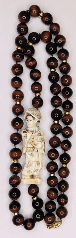 """Image 2 for 14K Yellow Gold Tiger's Eye Bead Necklace with Asian Carved Bone Section & Gold Rondels 34"""""""