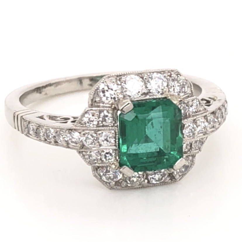 Platinum Art Deco 1.06ct GIA Lab Report Emerald & .60tcw Diamond Ring 5.2g, s7.25