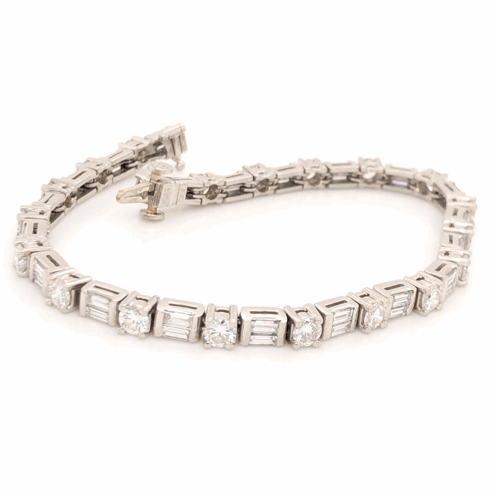 "Platinum Line Bracelet Round Brilliant & Baguette Diamonds 5.73tcw, 25.2g, 7.25"""
