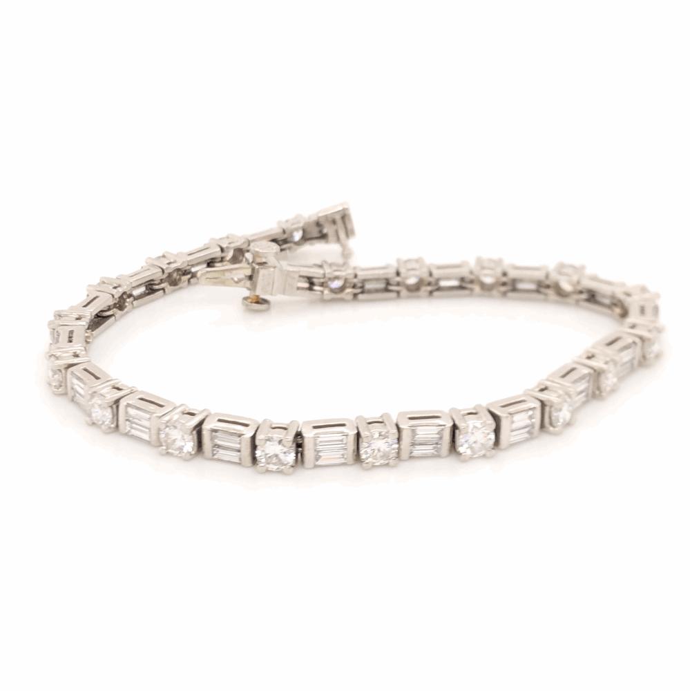 """Image 2 for Platinum Line Bracelet Round Brilliant & Baguette Diamonds 5.73tcw, 25.2g, 7.25"""""""