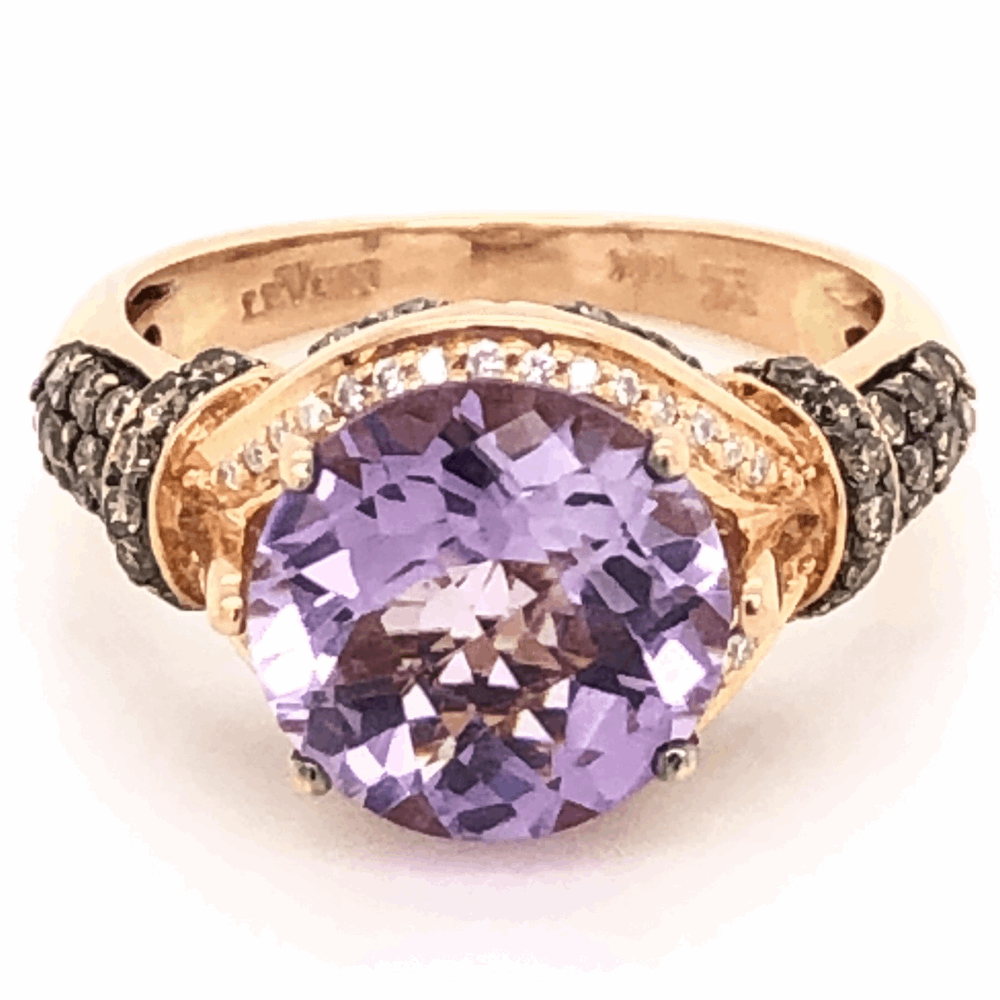 14K Rose Gold LEVIAN 3ct Amethyst & .54tcw Diamond Ring 5.08g, s7