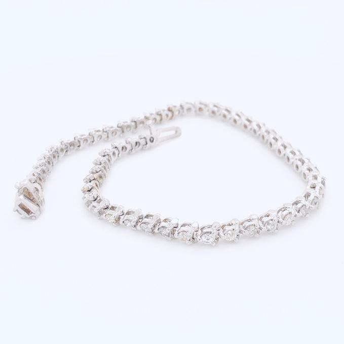 "14K White Gold 3.00tcw Diamond 3 Prong Line Bracelet 8.3g, 7"""