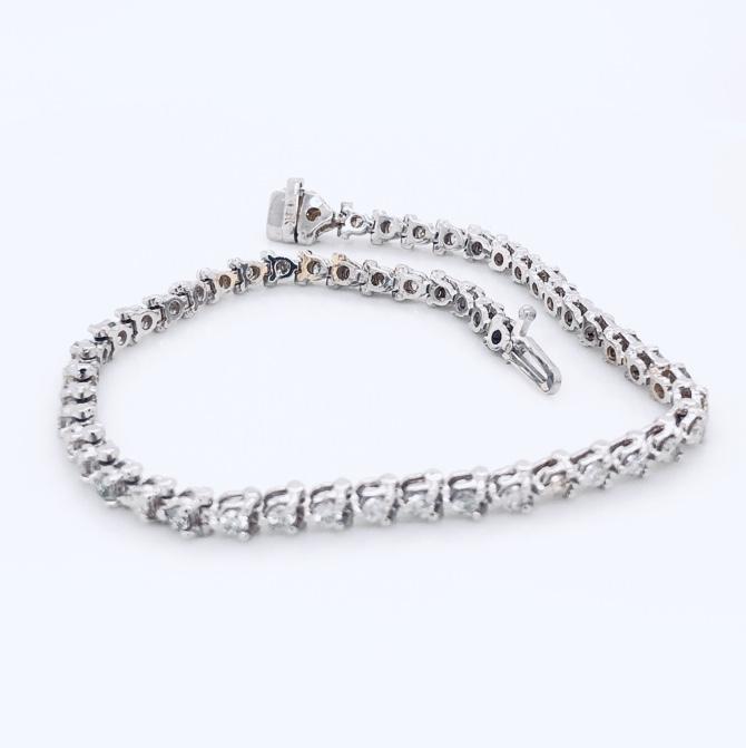 """Image 2 for 14K White Gold 3.00tcw Diamond 3 Prong Line Bracelet 8.3g, 7"""""""