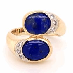Closeup photo of 14K Yellow Gold Bypass Lapis & .05tcw Diamond Ring, c1970 5.4g, s4