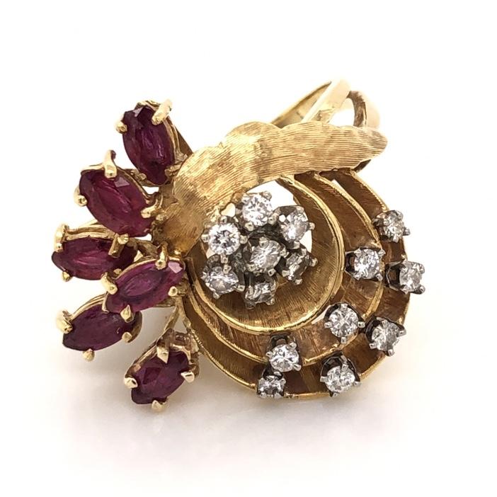 18K Yellow Gold 1960's Spray Ring .75tcw Diamond & .75tcw Marquis Rubies 8.8g, s5