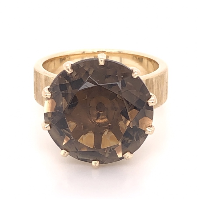 14K Yellow Gold 9.00ct Smokey Quartz in 10 Prong Brushed Band Ring 7.7g, s5.75