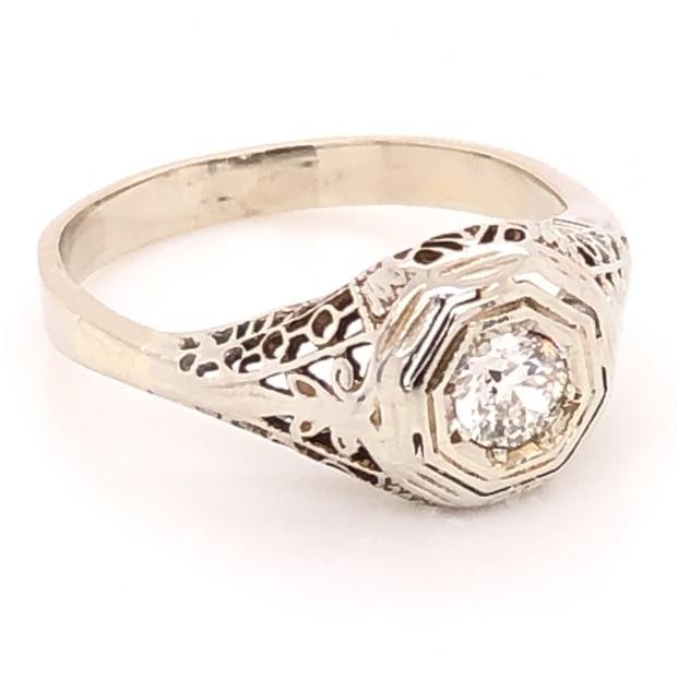 14K White Gold Art Deco Filigree .17ct Old European Cut Diamond Ring 1.8g, s3.75