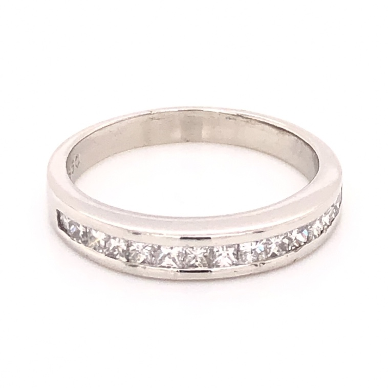 Platinum Channel Set Princess Cut Diamond Band Ring .52tcw, 5.3g, s7