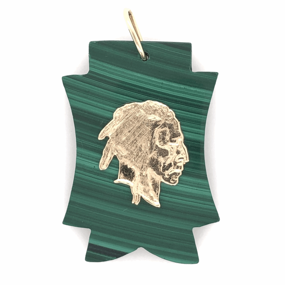 """14K Yellow Gold Indian Head on Carved Malachite Charm Pendant 11.5g 1.75"""" tall"""