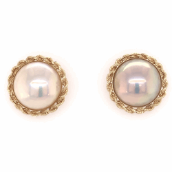 """Closeup photo of 14K Yellow Gold Mabe Pearl Earrings with Rope style Bezel 5/8"""" diameter 4.7g"""