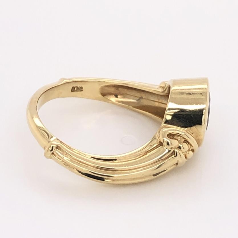 Image 2 for 14K Yellow Gold 1.50ct Round Bezel Set Tanzanite Custom Ring 7.0g, s8