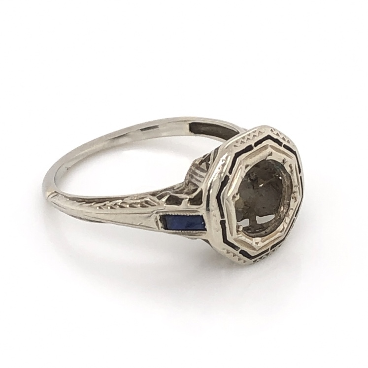 18K White Gold Art Deco Octagon Semimount with Sapphire sides 2.6g, s5.5