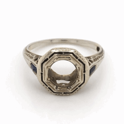 Closeup photo of 18K White Gold Art Deco Octagon Semimount with Sapphire sides 2.6g, s5.5