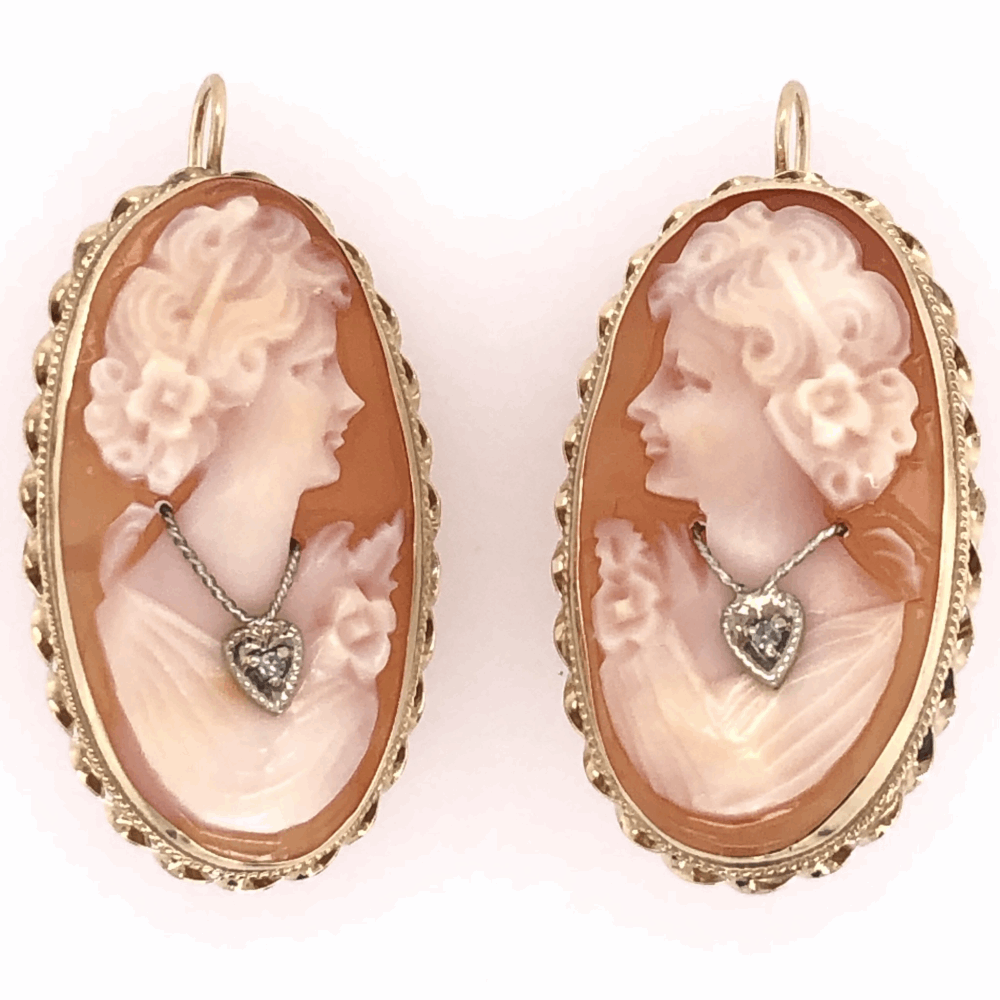 "14K Yellow Gold Shell Cameo Diamond Earrings with Shepard Hooks 6.5g, 1.75"" tall"