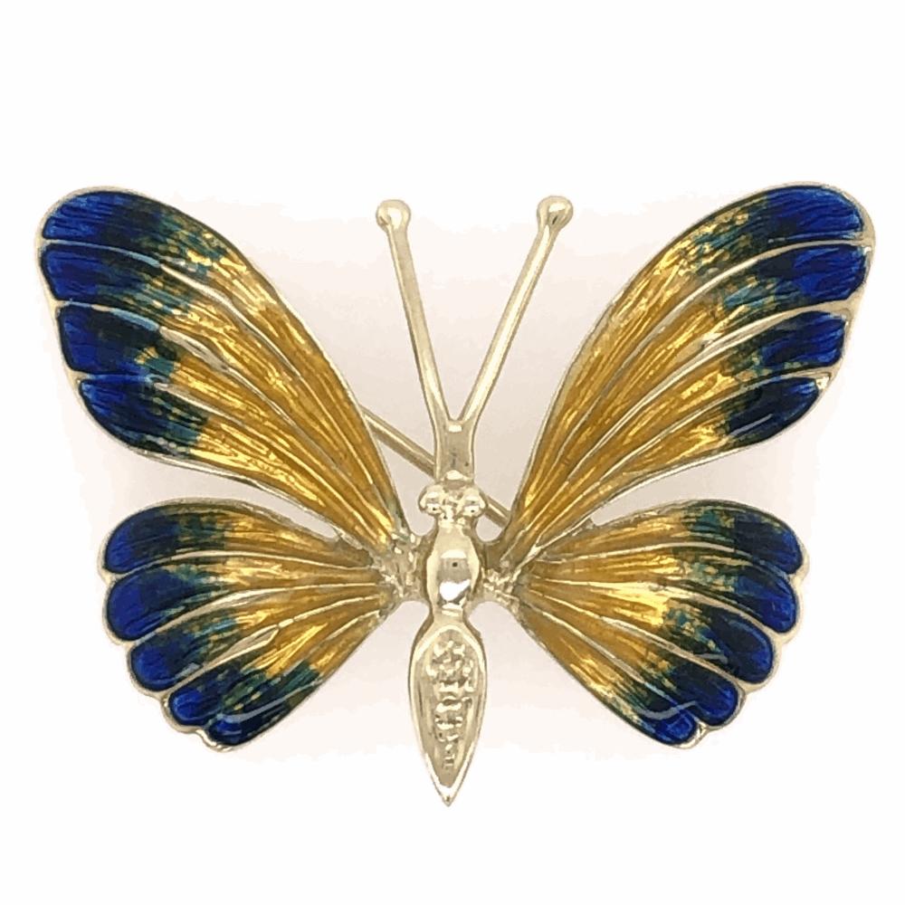 """14K Yellow Gold Enamel Butterfly Brooch Pin Yellow, Blue & Green Enamel 8.1g, 1 3/8x1"""""""
