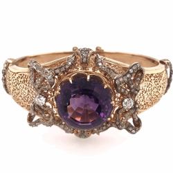 Closeup photo of 14K Rose Gold Victorian Large Amethyst &  Diamond Cuff Bracelet 49.8g
