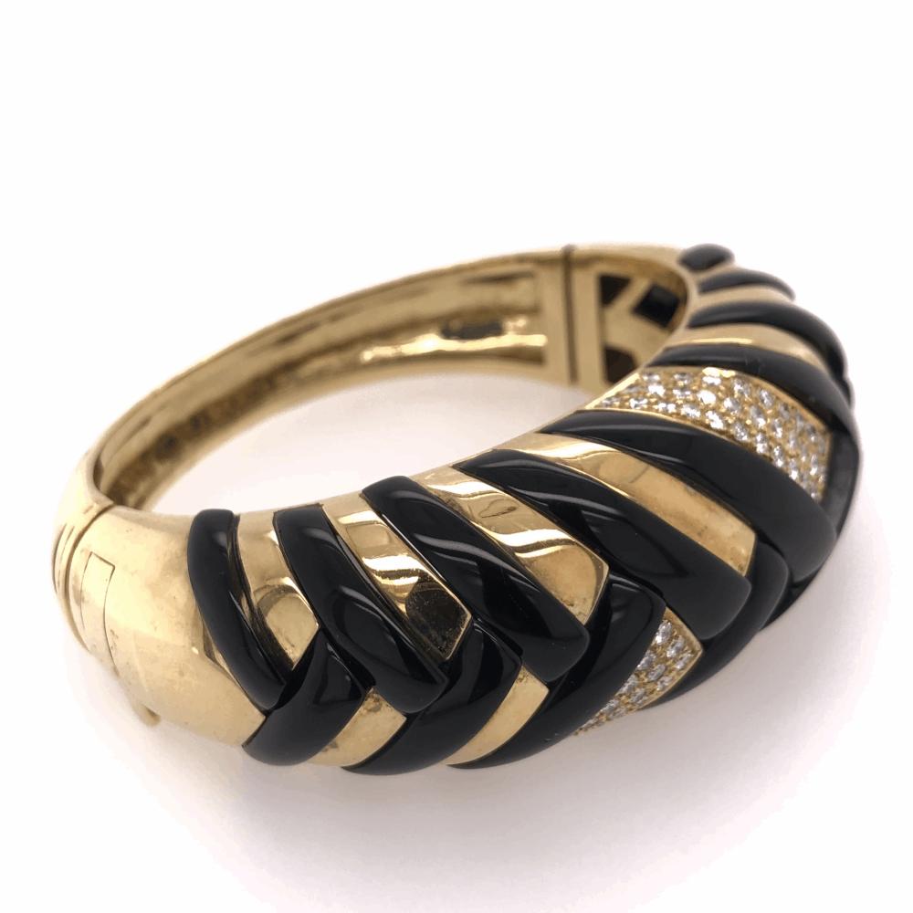 Image 2 for 18K Yellow Gold Onyx & Diamond Cross Hatched Large Bangle Bracelet 90.1g, 2.00tcw *some Onyx damage*