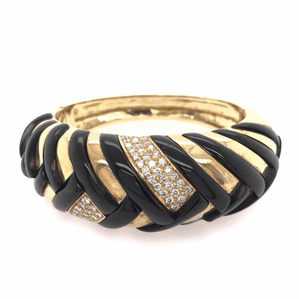 18K Yellow Gold Onyx & Diamond Cross Hatched Large Bangle Bracelet 90.1g, 2.00tcw *some Onyx damage*