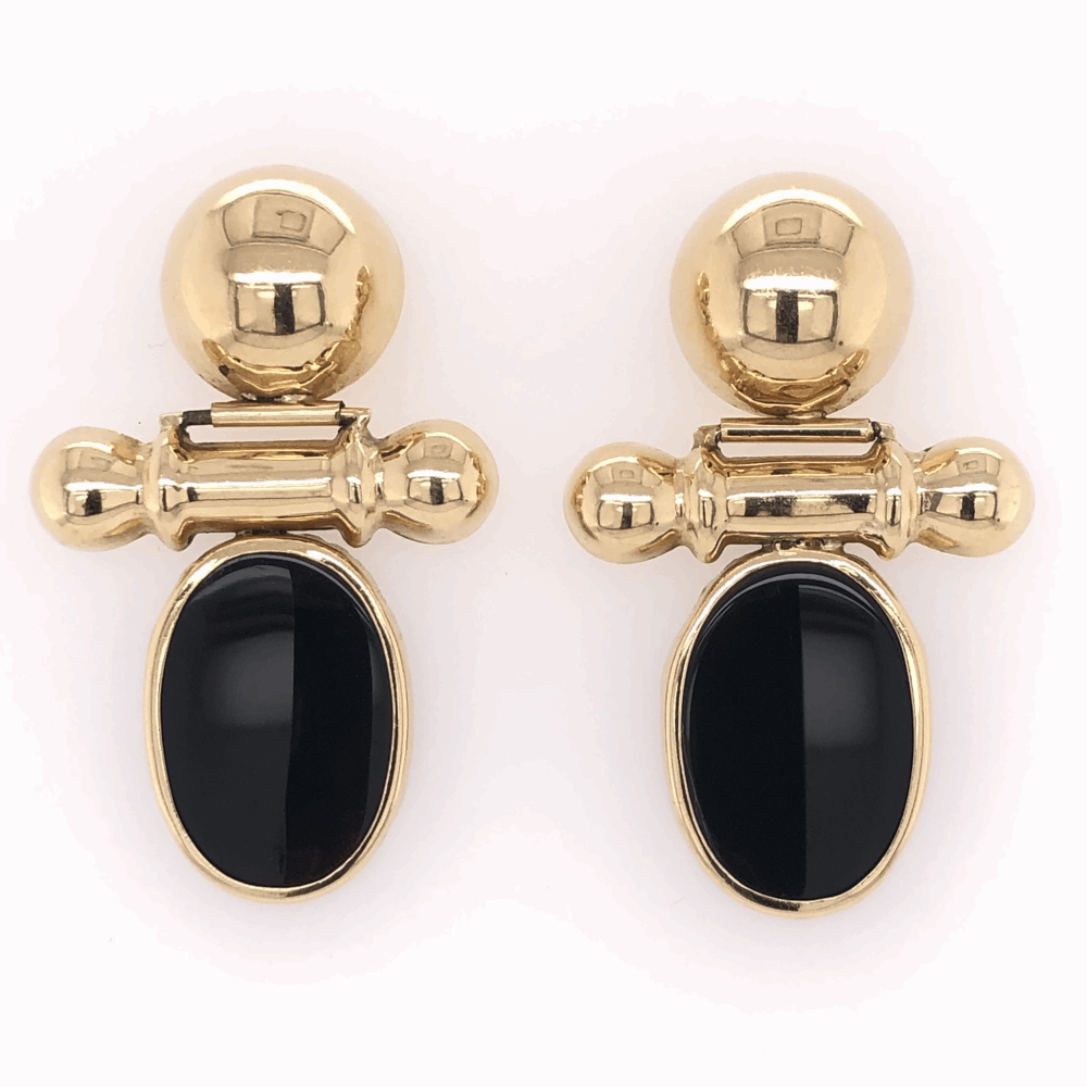 "14K Yellow Gold Drop Earrings with Black Onyx 6.1g, c1980 1.5"" tall"