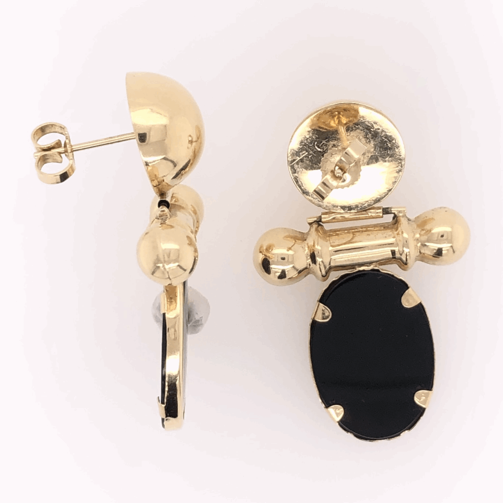 "Image 2 for 14K Yellow Gold Drop Earrings with Black Onyx 6.1g, c1980 1.5"" tall"