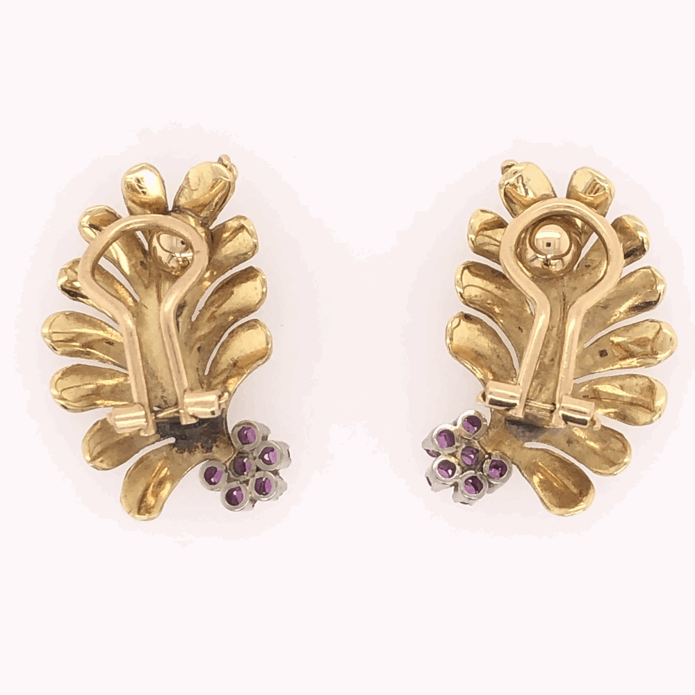"Image 2 for 18K Yellow Gold Leaf Fan Shape Earrings .20tcw Rubies 9.8g, 1"" tall"