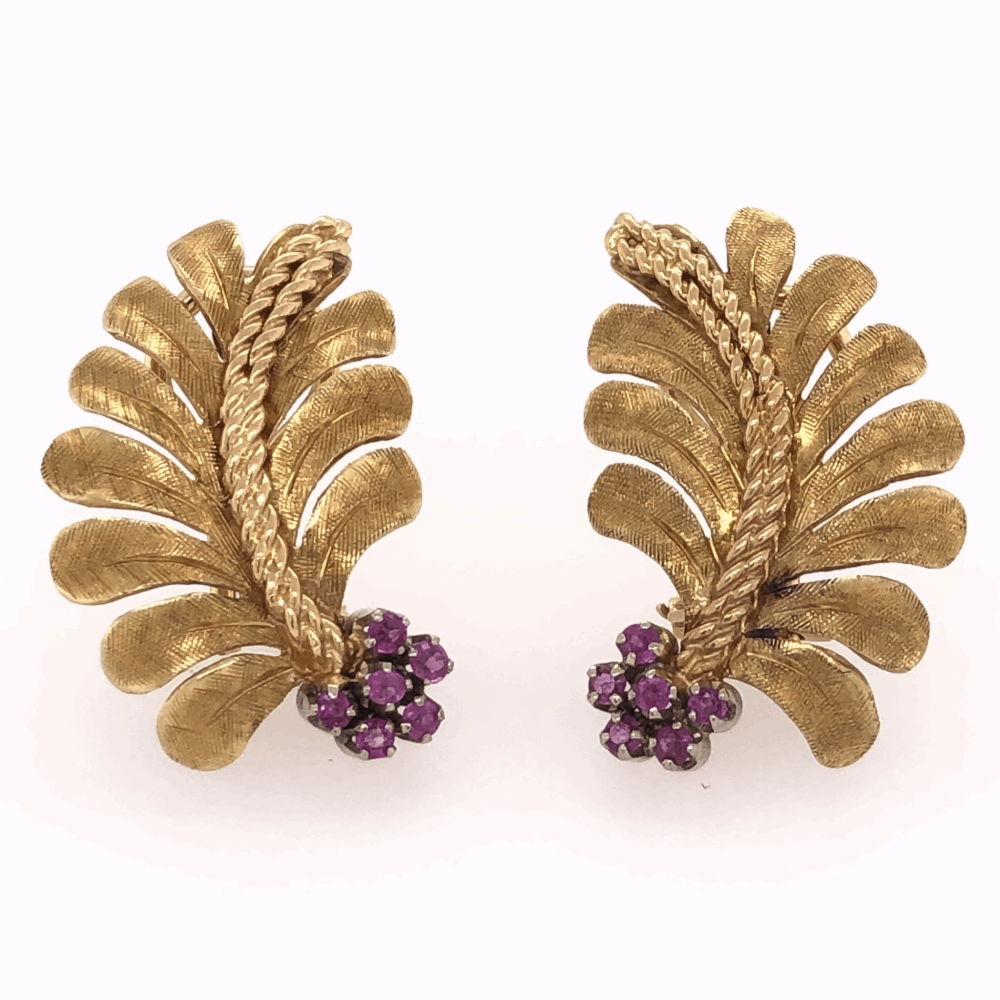 "18K Yellow Gold Leaf Fan Shape Earrings .20tcw Rubies 9.8g, 1"" tall"