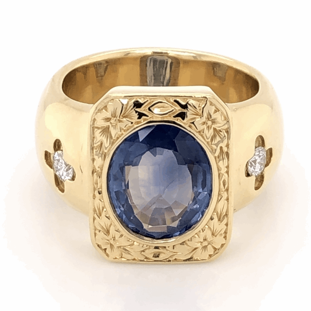 18K Yellow Gold 1960's 4ct Oval Sapphire & .32tcw Diamond Ring 29.2g, s8.5
