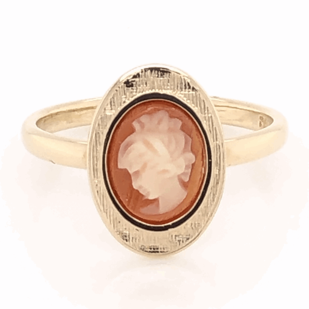 14K Yellow Gold Oval Shell Cameo Ring 2.5g, s5
