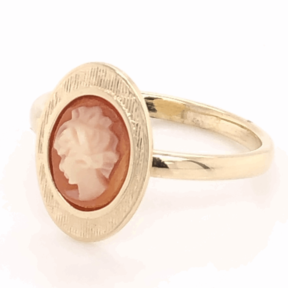 Image 2 for 14K Yellow Gold Oval Shell Cameo Ring 2.5g, s5