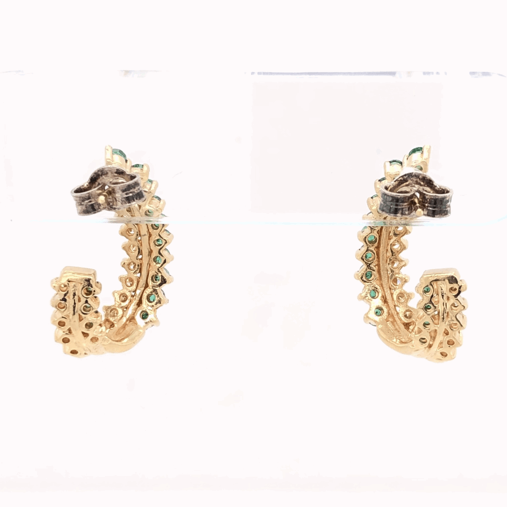 """Image 2 for 14K Yellow Gold Half Hoops .85tcw Diamonds & .75tcw Emeralds 6.6g, 7/8"""" Tall"""