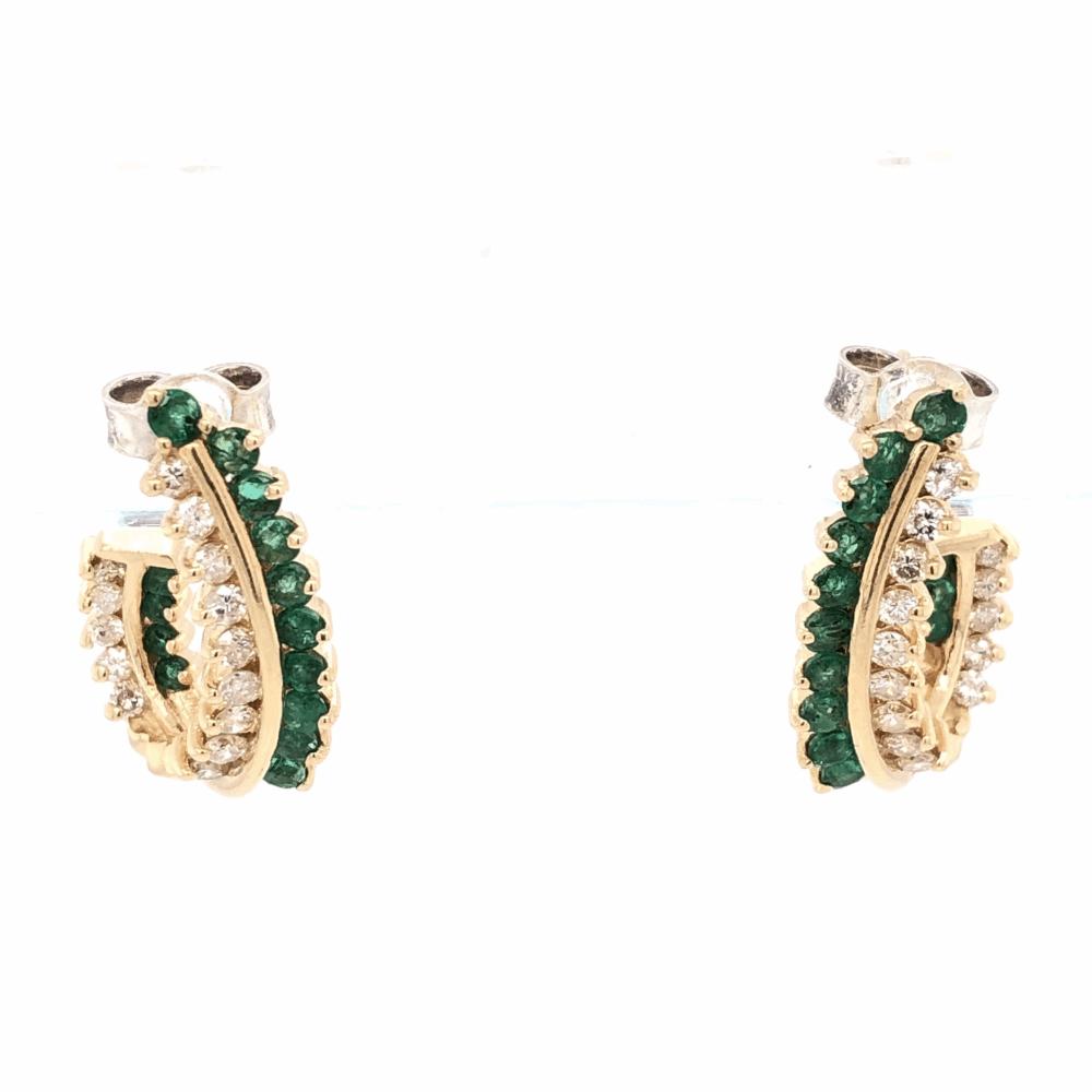 "14K Yellow Gold Half Hoops .85tcw Diamonds & .75tcw Emeralds 6.6g, 7/8"" Tall"