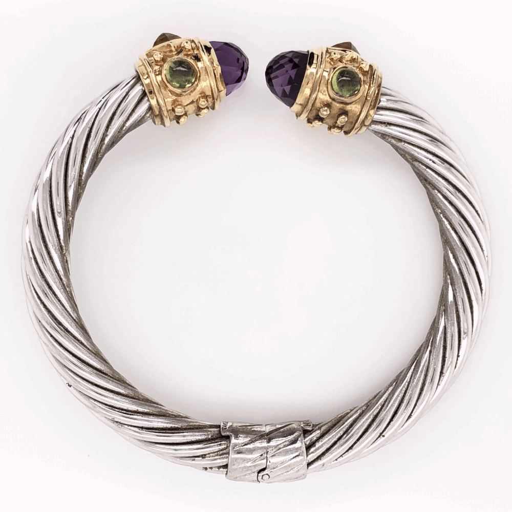 Image 2 for 925 & 14K Yellow Gold Hinged Bangle with Amethyst, Citrine & Peridot