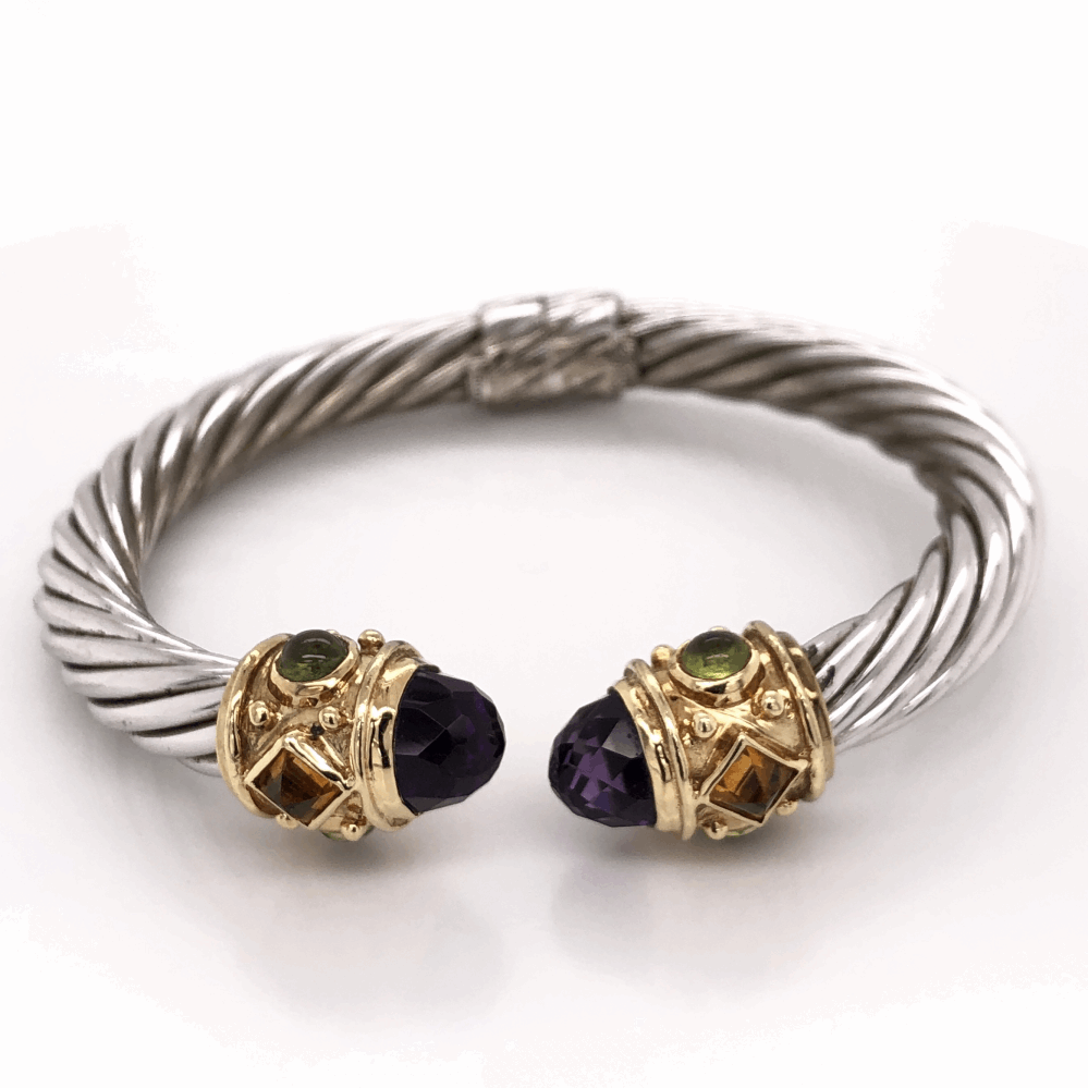 925 & 14K Yellow Gold Hinged Bangle with Amethyst, Citrine & Peridot