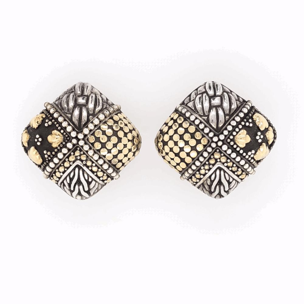 "925 & 18K Yellow Gold JOHN HARDY Clip Earrings with Four Seasons Design 17.5g, 7/8"" Tall"