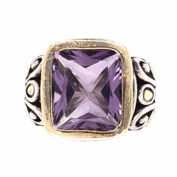 Closeup photo of 925 & 18K Yellow Gold JOHN HARDY Amethyst Ring 11.7g, s7