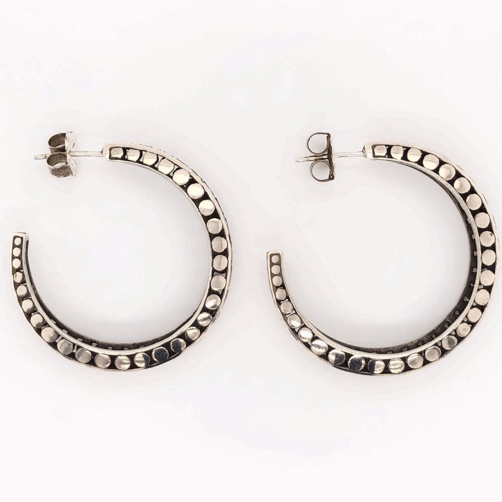 925 Sterling JOHN HARDY Open Bubble Design Hoop Earrings 9.3g, 1.5""