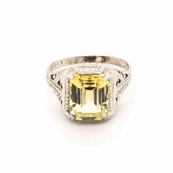 Closeup photo of 14K White Gold Art Deco Filigree Yellow Stone Ring 2.0g, s3.5