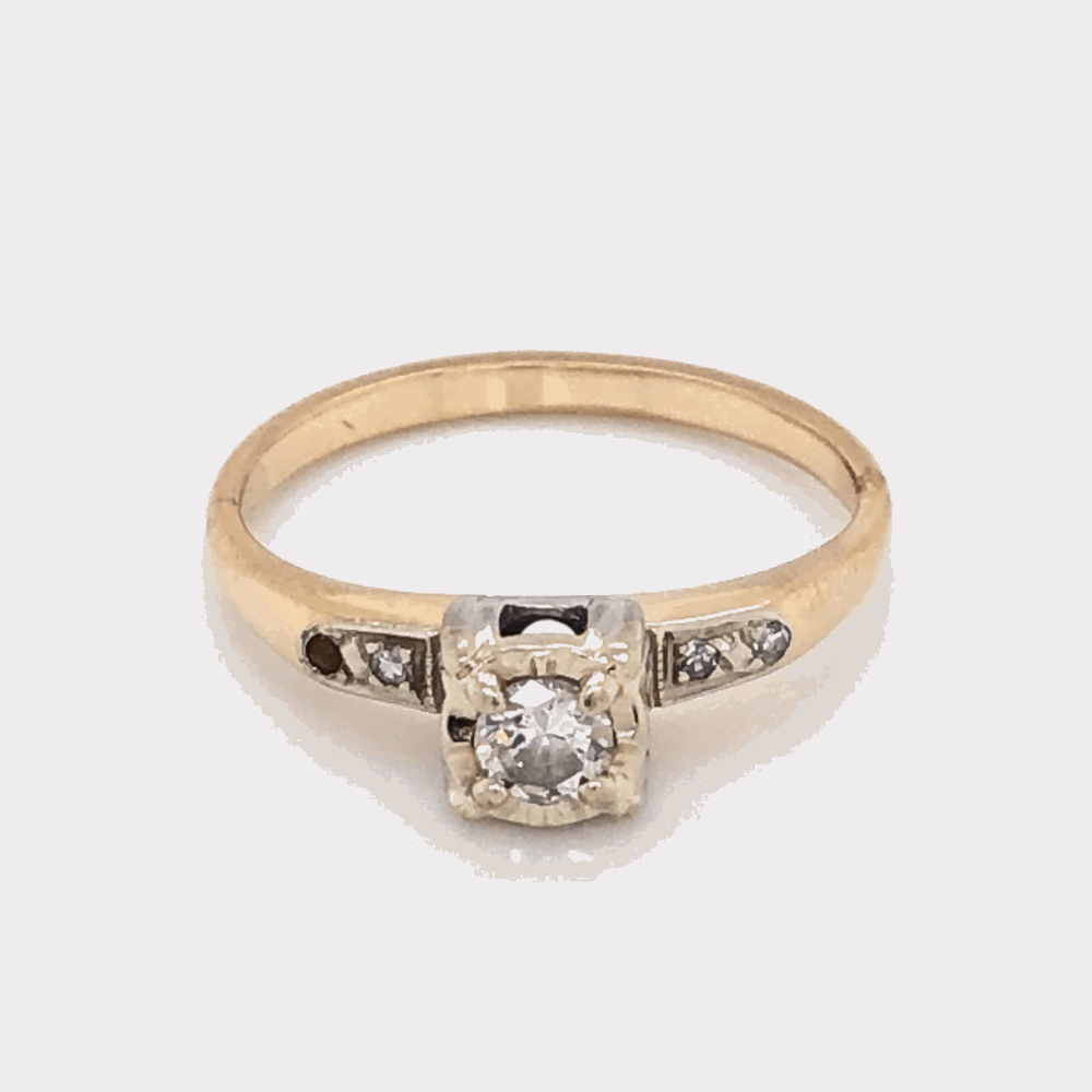 Platinum on 14K Yellow Gold Solitaire Diamond Engagement Ring .34tcw, c1960's 2.7g, s6.75