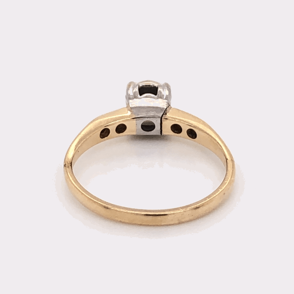 Image 2 for Platinum on 14K Yellow Gold Solitaire Diamond Engagement Ring .34tcw, c1960's 2.7g, s6.75