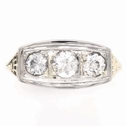 Closeup photo of Platinum on 14K Yellow Gold Edwardian 3 Stone Diamond Ring .69tcw 2.9g, s8