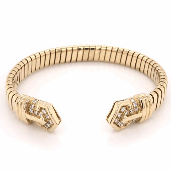 "Closeup photo of 18K Yellow Gold BVLGARI Diamond Open Cuff Bracelet .90tcw, 38.9g s6.5"" c1970's"