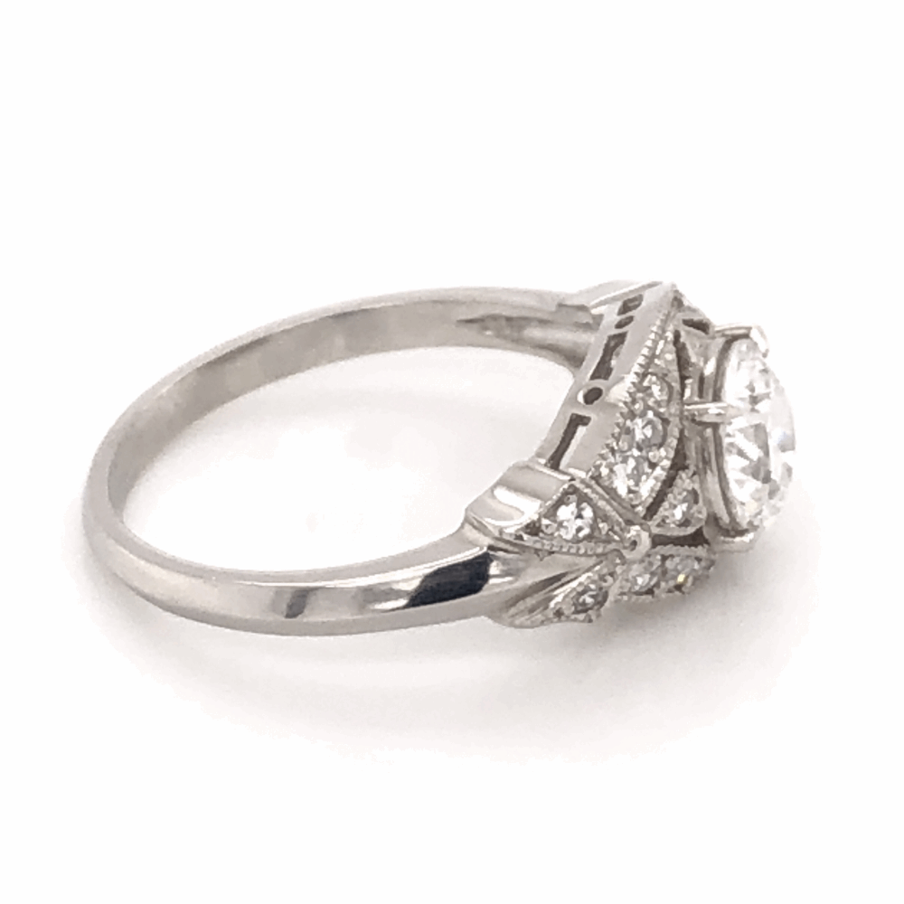 Image 2 for Platinum Art Deco .88ct Old European Cut Diamond Ring with .20tcw side Diamonds & Milgrain 5.0g, s6.5