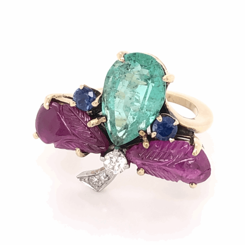 Image 5 for 14K Yellow Gold 1960's Tutti Fruiti Ring 1.80ct Pear Shape Emerald, Carved Rubies, Sapphires & .10tcw Diamonds 6.0g, s5.75