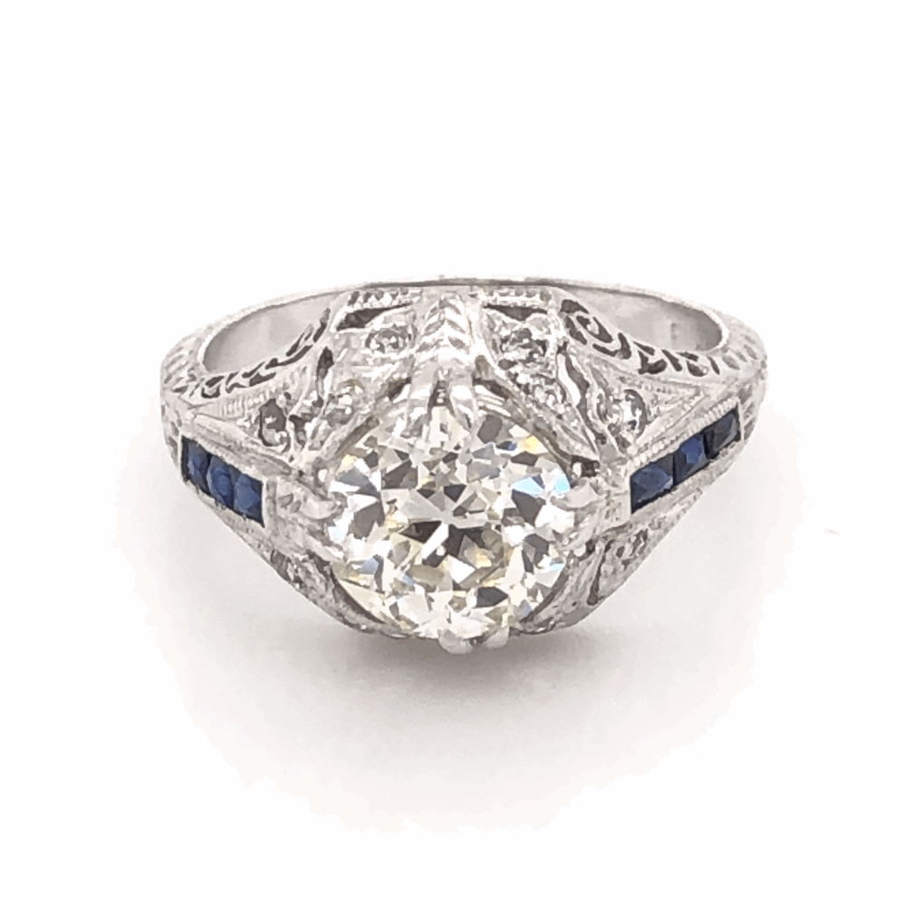 Platinum Art Deco 1.71ct OEC Diamond & .12tcw Side Diamonds with Blue Stones Ring, Engraving & Milgrain 5.0g, s6
