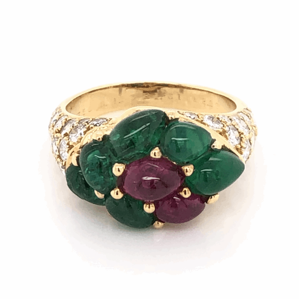 18K Yellow Gold FRENCH Cluster Ring, 2.20tcw Cabochon Emeralds, .70tcw Cabochon Rubies & 1.70tcw Diamonds 6.8g, s6.5