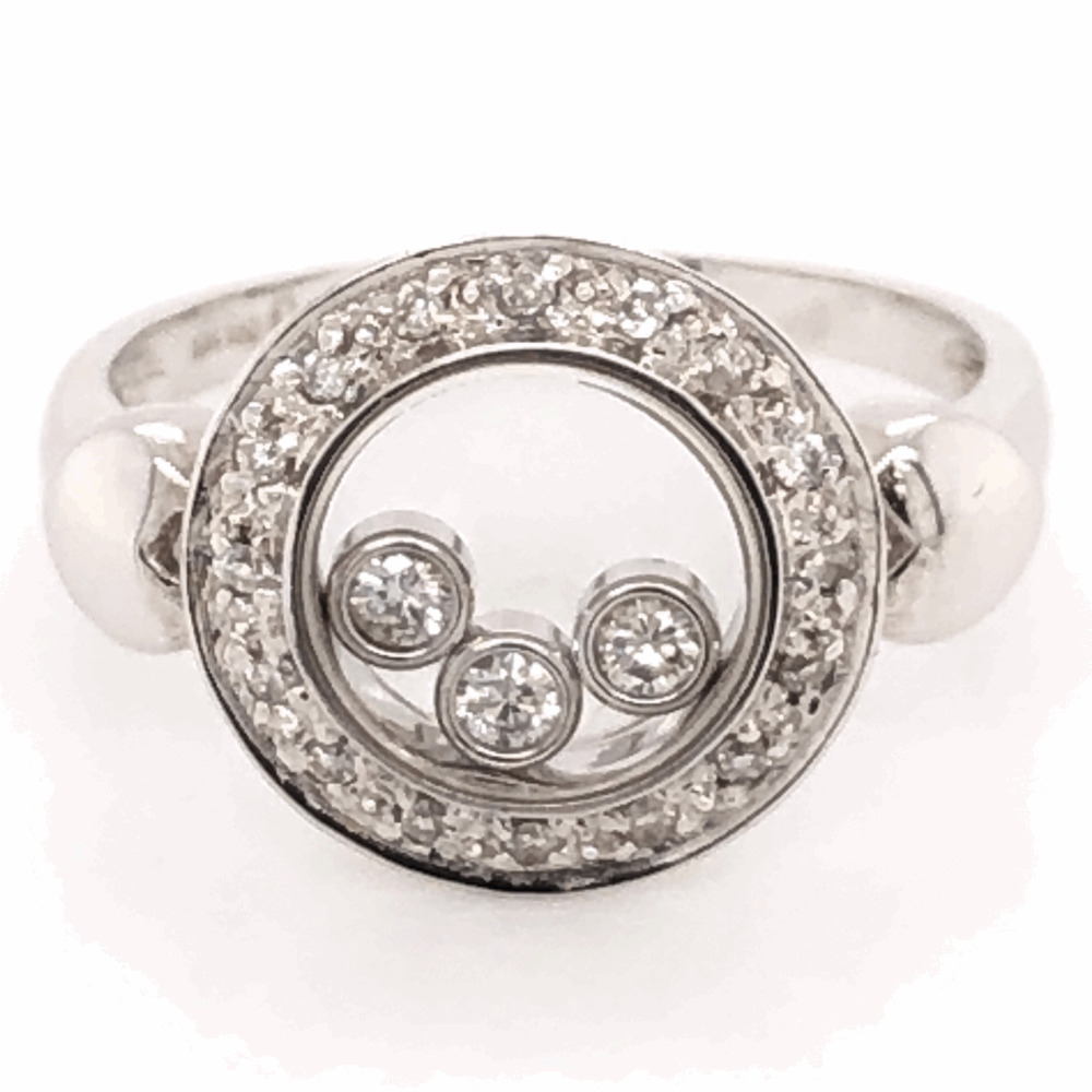 18K White Gold Floating Diamond Ring .32tcw, 4.2g, s5.75