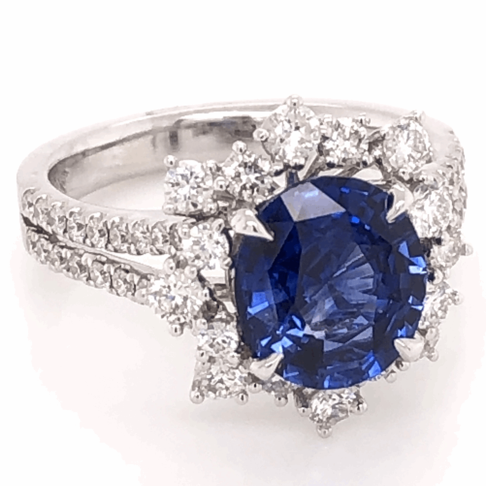 Image 2 for 18K White Gold 2.77ct Oval Sapphire & 1.00tcw Diamond Ring 5.3g, s6.5